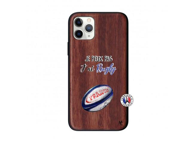 Coque iPhone 11 PRO Je Peux Pas J Ai Rugby Bois Walnut
