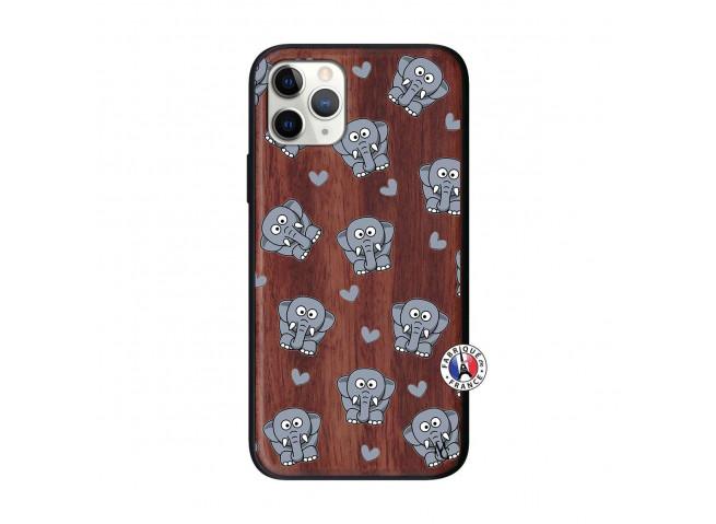 Coque iPhone 11 PRO Petits Elephants Bois Walnut
