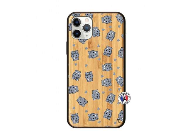 Coque iPhone 11 PRO Petits Hippos Bois Bamboo