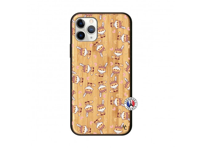 Coque iPhone 11 PRO Petits Renards Bois Bamboo