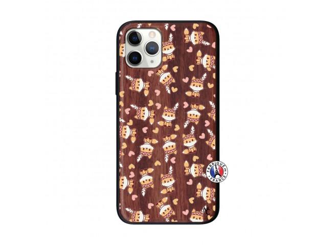 Coque iPhone 11 PRO Petits Renards Bois Walnut