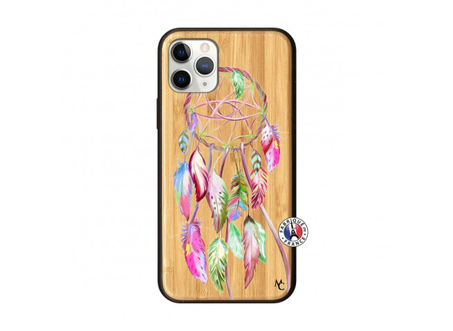 Coque iPhone 11 PRO Pink Painted Dreamcatcher Bois Bamboo