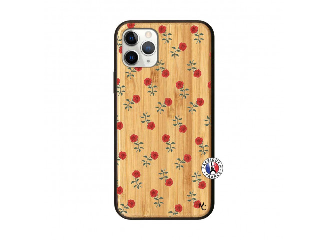 Coque iPhone 11 PRO Rose Pattern Bois Bamboo
