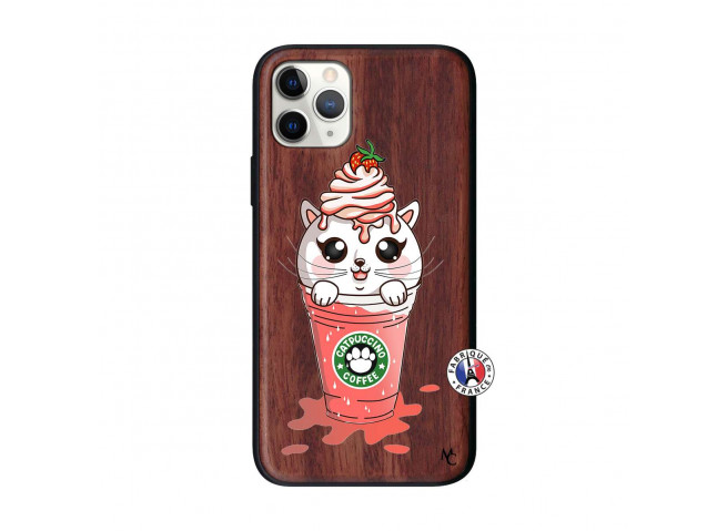 Coque iPhone 11 PRO Smoothie Cat Ice Cream Bois Walnut