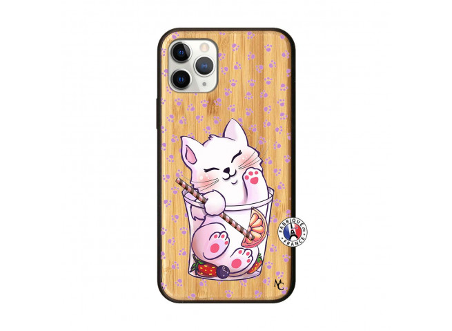 Coque iPhone 11 PRO Smoothie Cat Bois Bamboo