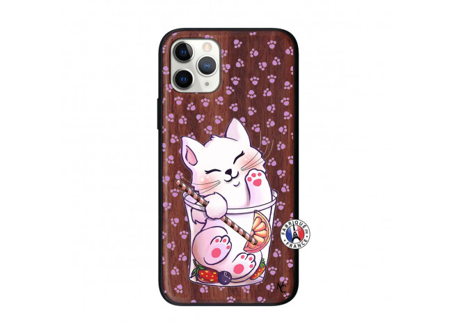Coque iPhone 11 PRO Smoothie Cat Bois Walnut
