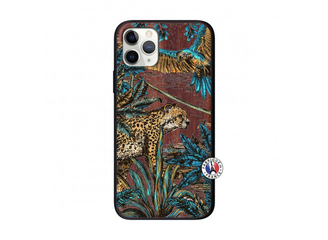 Coque iPhone 11 PRO Leopard Jungle Bois Walnut