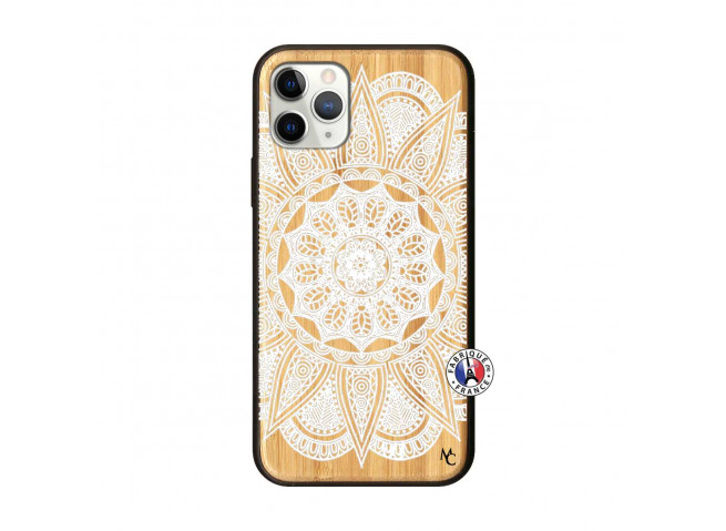 Coque iPhone 11 PRO White Mandala Bois Bamboo