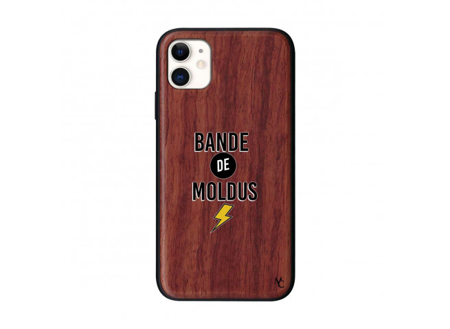 Coque iPhone 11 Bande De Moldus Bois Walnut