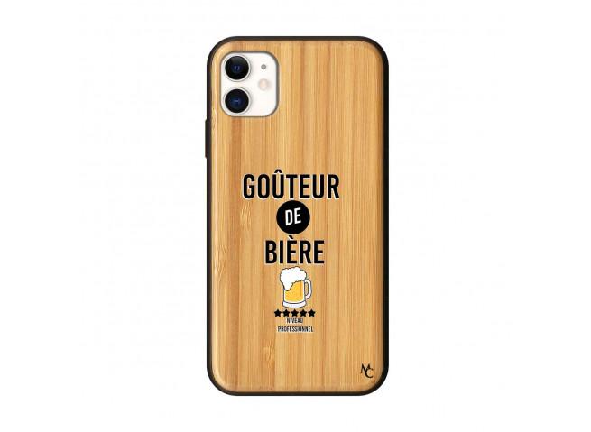 Coque iPhone 11 Goûteur de Bière Bois Bamboo