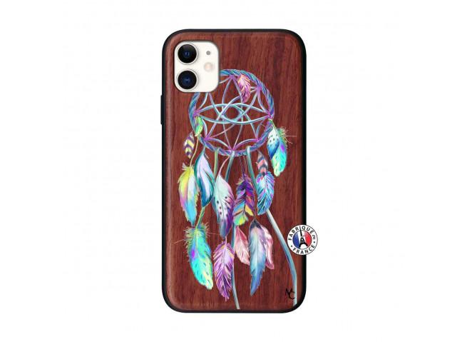 Coque iPhone 11 Blue Painted Dreamcatcher Bois Walnut