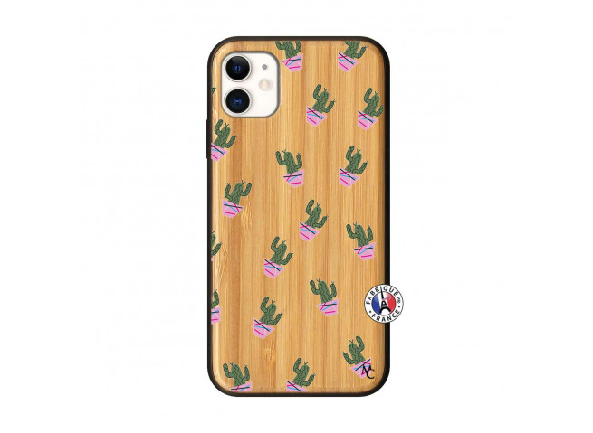 Coque iPhone 11 Cactus Pattern Bois Bamboo