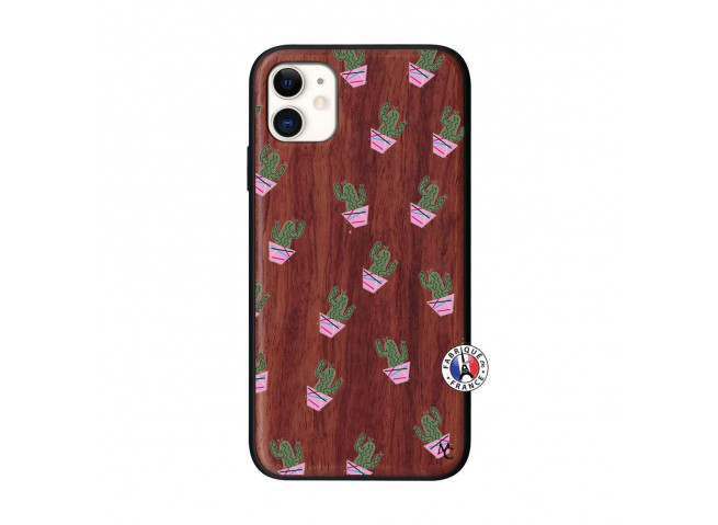 Coque iPhone 11 Cactus Pattern Bois Walnut
