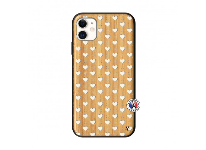 Coque iPhone 11 Little Hearts Bois Bamboo