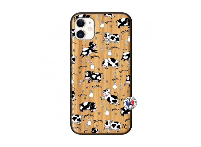 Coque iPhone 11 Cow Pattern Bois Bamboo