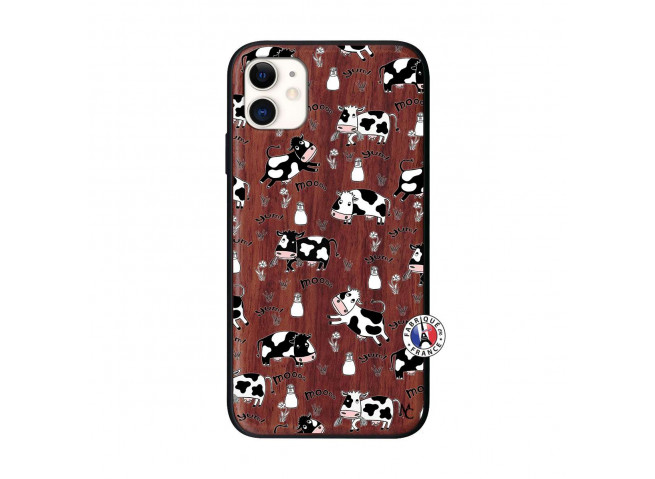 Coque iPhone 11 Cow Pattern Bois Walnut