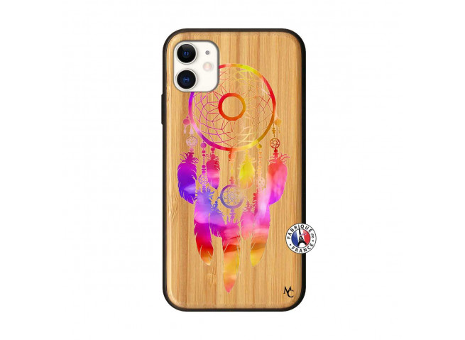 Coque iPhone 11 Dreamcatcher Rainbow Feathers Bois Bamboo