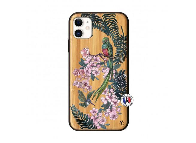 Coque iPhone 11 Flower Birds Bois Bamboo