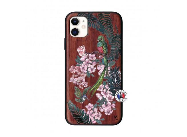 Coque iPhone 11 Flower Birds Bois Walnut