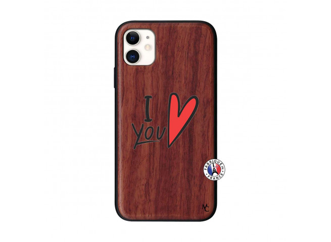 Coque iPhone 11 I Love You Bois Walnut