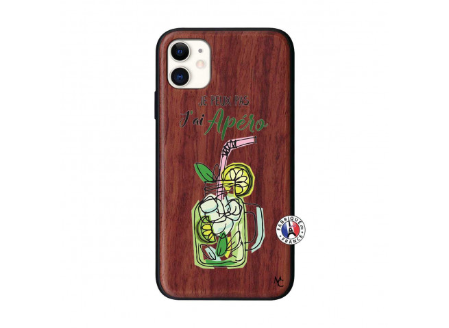 Coque iPhone 11 Je peux pas J'ai Apéro Bois Walnut