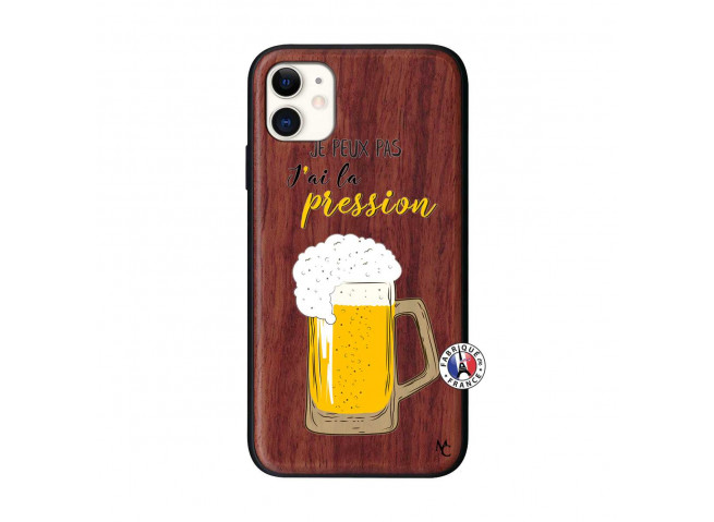 Coque iPhone 11 Je peux pas J'ai la Pression Bois Walnut