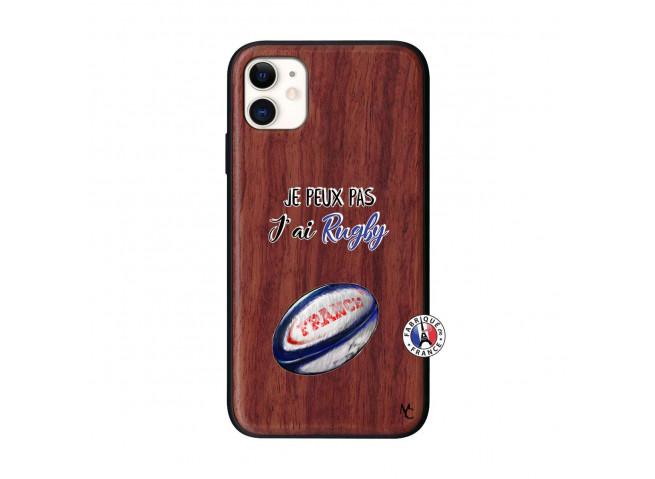 Coque iPhone 11 Je Peux Pas J Ai Rugby Bois Walnut