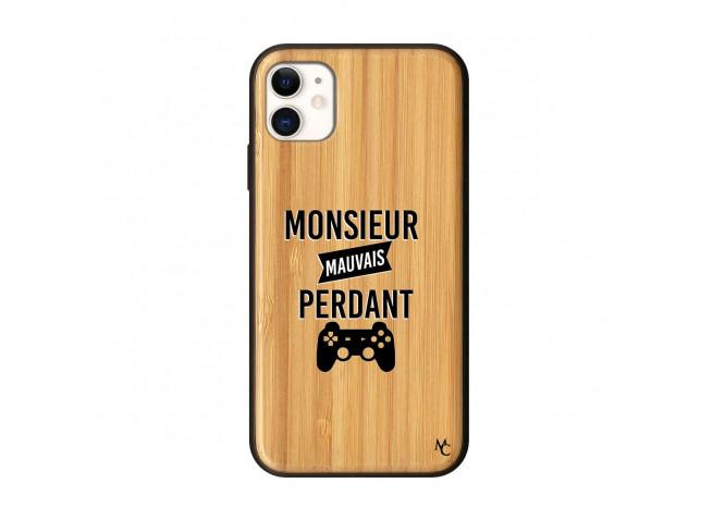 Coque iPhone 11 Monsieur Mauvais Perdant Bois Bamboo