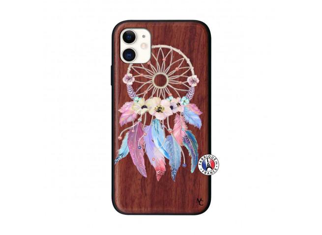 Coque iPhone 11 Multicolor Watercolor Floral Dreamcatcher Bois Walnut