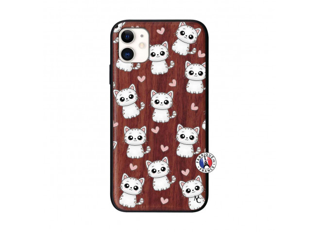 Coque iPhone 11 Petits Chats Bois Walnut