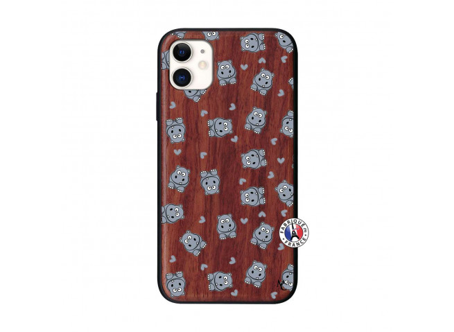 Coque iPhone 11 Petits Hippos Bois Walnut