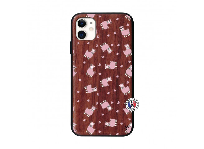 Coque iPhone 11 Petits Moutons Bois Walnut