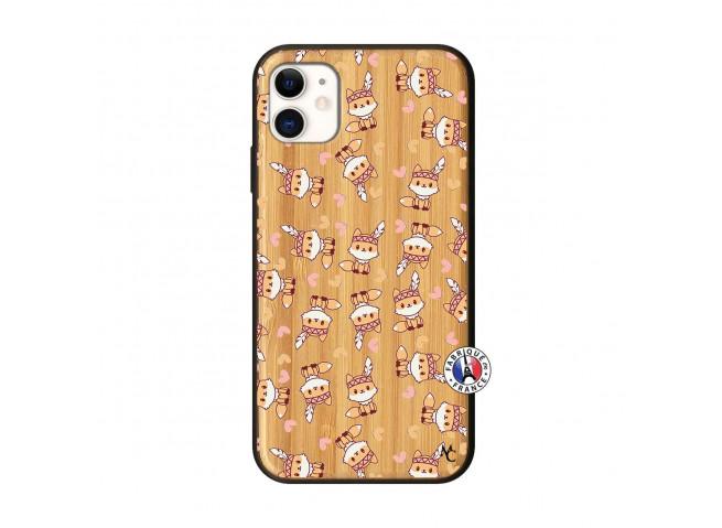 Coque iPhone 11 Petits Renards Bois Bamboo