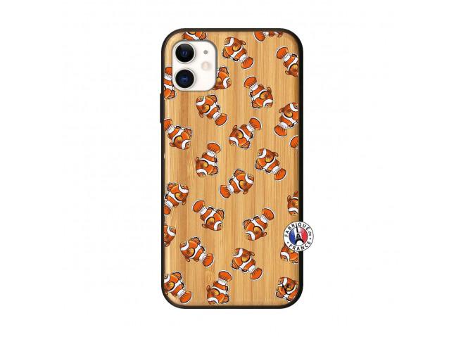 Coque iPhone 11 Petits Poissons Clown Bois Bamboo