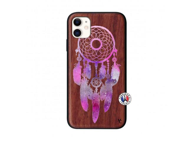 Coque iPhone 11 Purple Dreamcatcher Bois Walnut