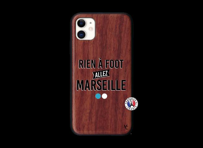 Coque iPhone 11 Rien A Foot Allez Marseille Bois Walnut