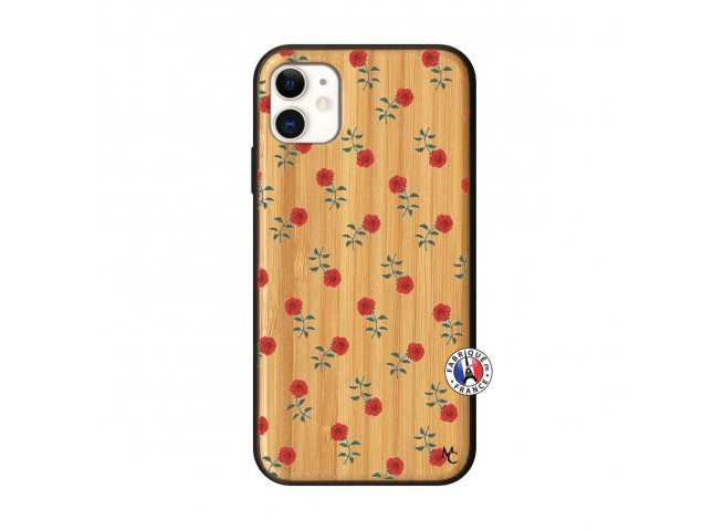 Coque iPhone 11 Rose Pattern Bois Bamboo