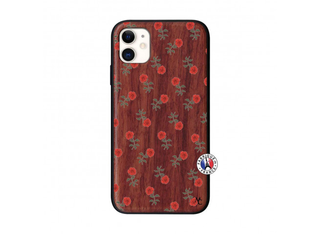 Coque iPhone 11 Rose Pattern Bois Walnut