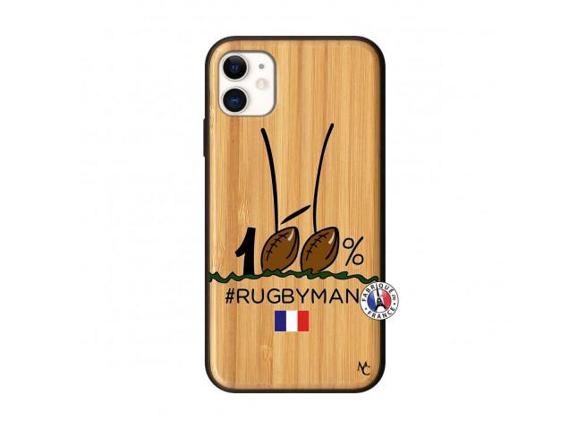 Coque iPhone 11 100 % Rugbyman Entre les Poteaux Bois Bamboo