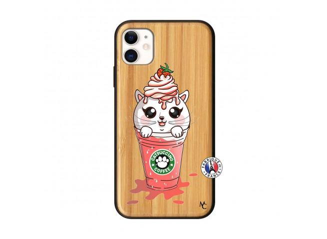 Coque iPhone 11 Smoothie Cat Ice Cream Bois Bamboo
