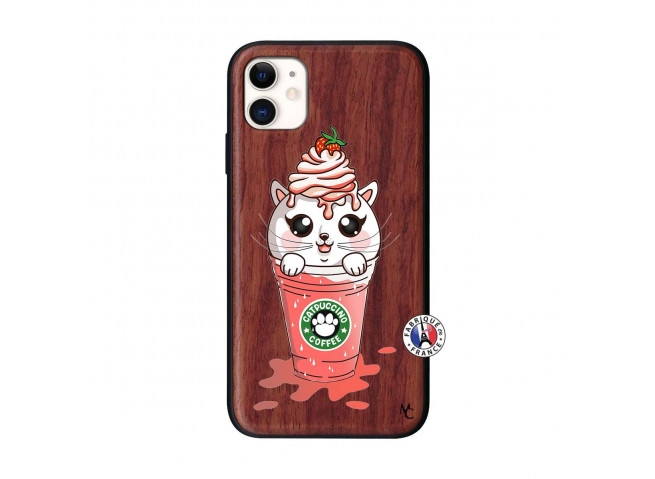 Coque iPhone 11 Smoothie Cat Ice Cream Bois Walnut