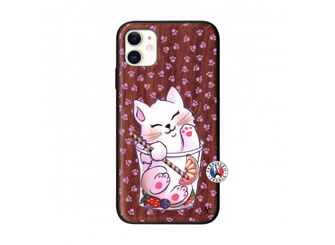 Coque iPhone 11 Smoothie Cat Bois Walnut