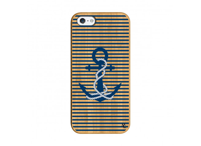 Coque iPhone 5/5S/SE Ancre Bois Bamboo