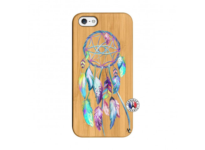 Coque iPhone 5/5S/SE Blue Painted Dreamcatcher Bois Bamboo
