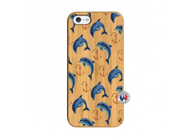 Coque Bois iPhone 5/5S/SE Dauphins