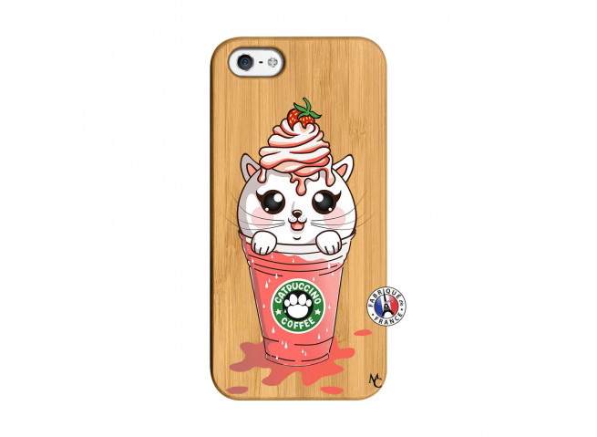 Coque Bois iPhone 5/5S/SE Catpucino Ice Cream