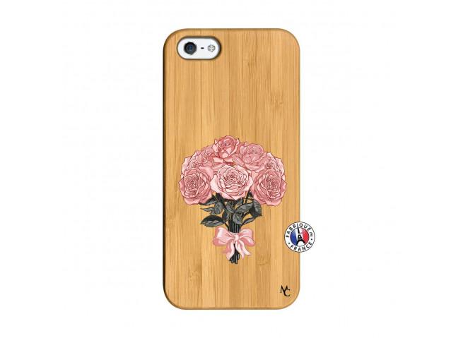 Coque iPhone 5/5S/SE Bouquet de Roses Bois Bamboo