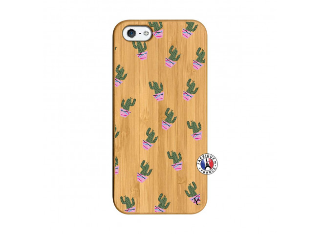 Coque iPhone 5/5S/SE Cactus Pattern Bois Bamboo