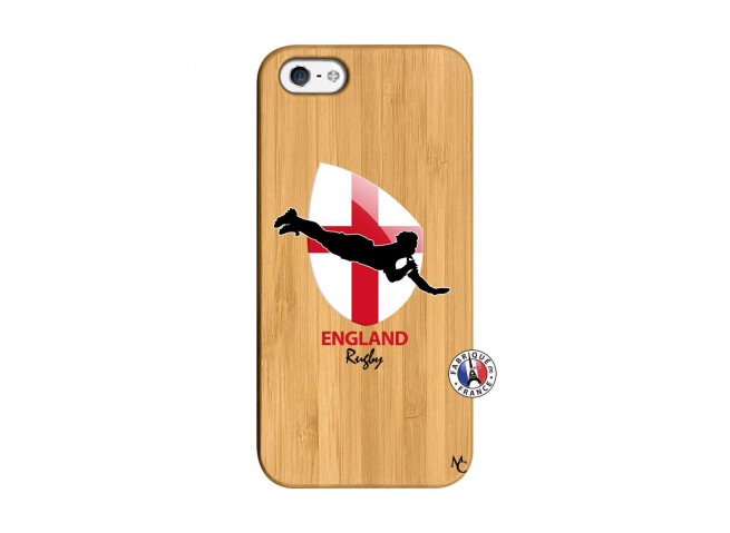 Coque iPhone 5/5S/SE Coupe du Monde Rugby-England Bois Bamboo