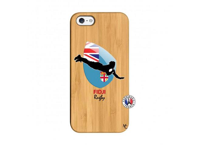 Coque iPhone 5/5S/SE Coupe du Monde Rugby Fidji Bois Bamboo